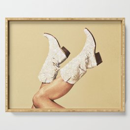 These Boots - Glitter & Tan Serving Tray