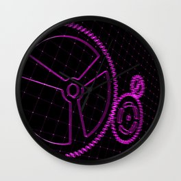 Set of purple gears and cogs on virtual screen Wall Clock