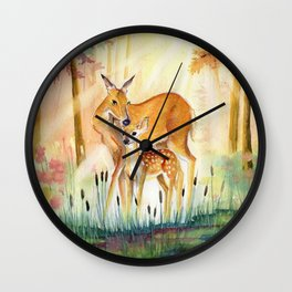 Mom and Little Deer Wall Clock
