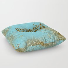 Mermaid Vibes - Gold Glitter on aqua Floor Pillow