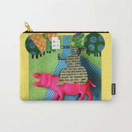 Piece of an Indian newspaper straddling a pink 3D hippo Carry-All Pouch
