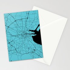 Dublin Ireland Turquoise on Black Street Map Stationery Cards
