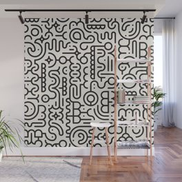 Black And White Line Art Geometric Doodle Pattern Abstract Background Wall Mural