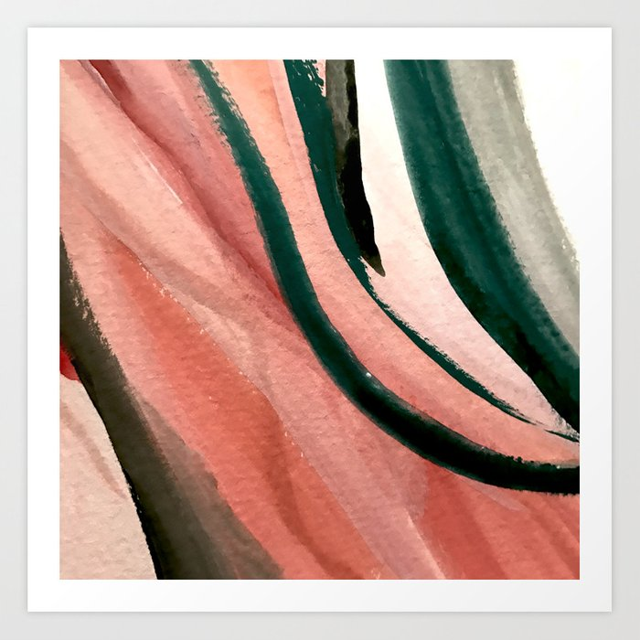 Spring In The City A Pretty Mimimal Watercolor Abstract Piece In Pinks And Greens Art Print