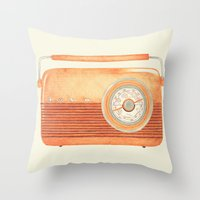 radio Throw Pillows featuring Radio Silence by One Curious Chip