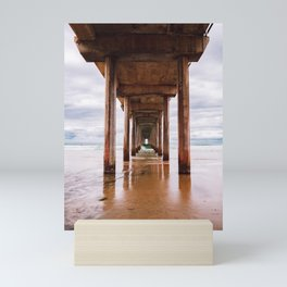 Under Scripps Pier in San Diego, California Mini Art Print