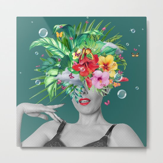 portriat floral Metal Print