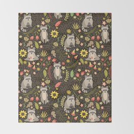 Raccoons Throw Blanket