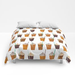 Pumpkin Spiced Latte fall autumn winter seasonal coffee drinks pattern Comforters