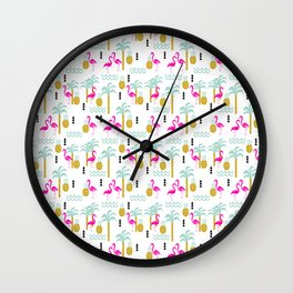 Tropical Summer flamingo bird pineapple nature trendy hipster minimal print children vacation desert Wall Clock
