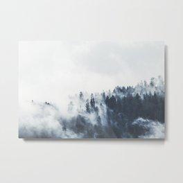 Foggy Forest Calm Landscape Metal Print