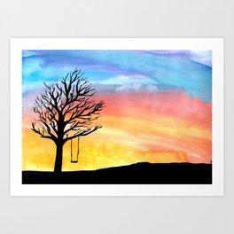 Sunset and Swing Art Print