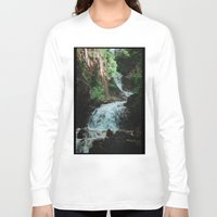 alaska Long Sleeve T-shirts featuring Alaska Waterfall by Leah Flores