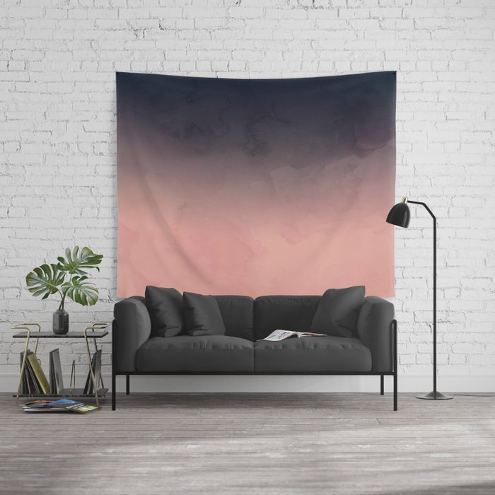 Modern abstract dark navy blue peach watercolor ombre gradient Wall ...