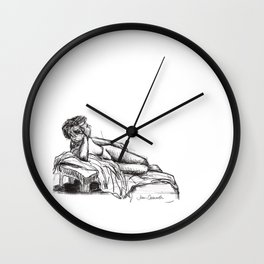 Reclining nude drawing from a live model Wall Clock