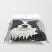 border collie Duvet Covers featuring Beautiful Border Collie by ArtLovePassion