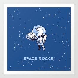 Little Astronaut - Space Rocks! (Captioned) Art Print