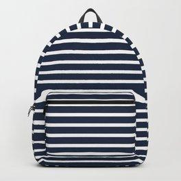 Nautical Navy and White Horizontal Stripes Backpack