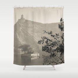 Black & White Landscape in Jaipur Shower Curtain