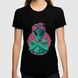 Cartoon Alien Gangster Design T-shirt