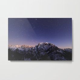 Starry sky above mountains Metal Print