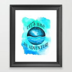 Let's Have an Adventure - Galaxy Ocean Wanderlust Watercolor Framed Art Print