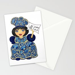 Little chef (blue) in petrykivka style Stationery Cards