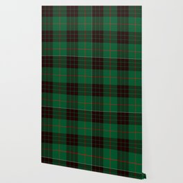 Dark Green Tartan with Black and Red Stripes Wallpaper