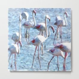 Stand Out In the Crowd Flamingo Watercolor Metal Print