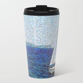 Summer / Sea / Yacht / Blue oil painting Travel Mug