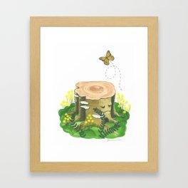 Happy Tree Stump Framed Art Print