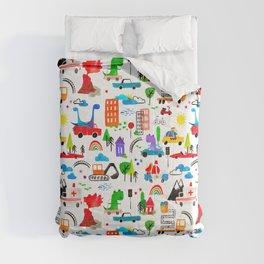 Dinosaur City Watercolor Transportation Pattern Comforters