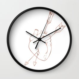Cupid Heart in Pink Rose Gold Wall Clock