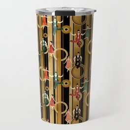Art Deco Charleston Dancers Pattern Travel Mug