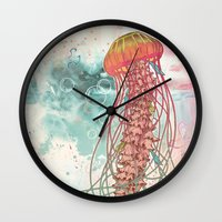jellyfish Wall Clocks featuring Jellyfish by Mat Miller