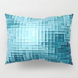 Nebula Pixels Steel Teal Blue Pillow Sham