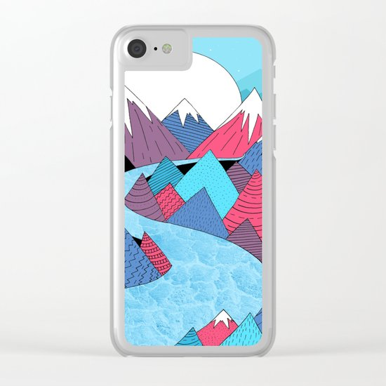 Blue Sky River Clear iPhone Case