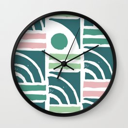 Mid-Century Modern in Mint Green and Pink Pattern Wall Clock