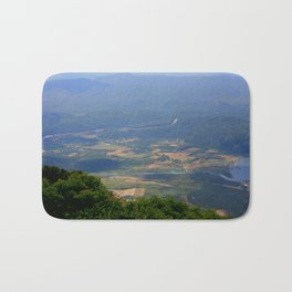 River, Tree and Mountain Landscape Bath Mat