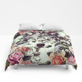 Floral Wolf Comforters