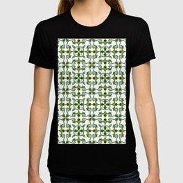 vintage mint green leaf emerald green geometric pattern T-shirt