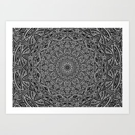 Most Detailed Mandala! Black and White Color Intricate Detail Ethnic Mandalas Zentangle Maze Pattern Art Print