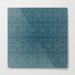 lines geo-teal Metal Print