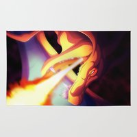 charizard Area & Throw Rugs featuring Night Of Fire by Alkraas