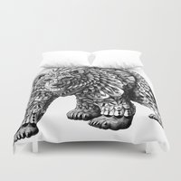 ornate elephant Duvet Covers featuring Ornate Bear by BIOWORKZ