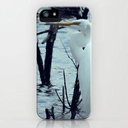 Great Egret White Bird Blue Water A107 iPhone Case