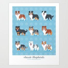 Aussie Shepherds Art Print