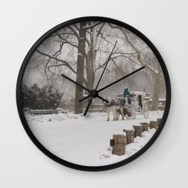 Snow Day Carriage Ride Through Central Park Wall Clock