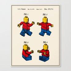 Lego Man Patent - Colour (v3) Canvas Print