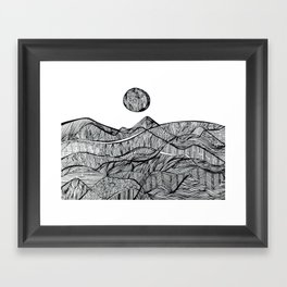 black and white sunset  Framed Art Print